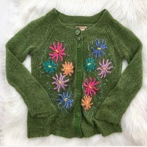 Forever 21 Green Sparkle Floral Cardigan